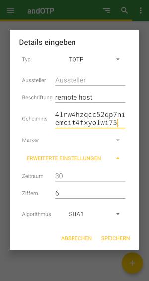 Eingabe der Details in andOTP